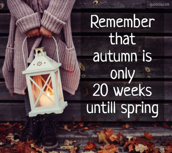 Remember that autumn is only 20 weeks untill spring